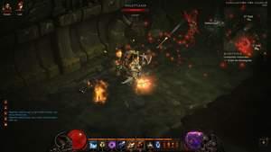 Diablo 3 - Komplettlösung : In der Kanalisation greifen uns Skelette an.