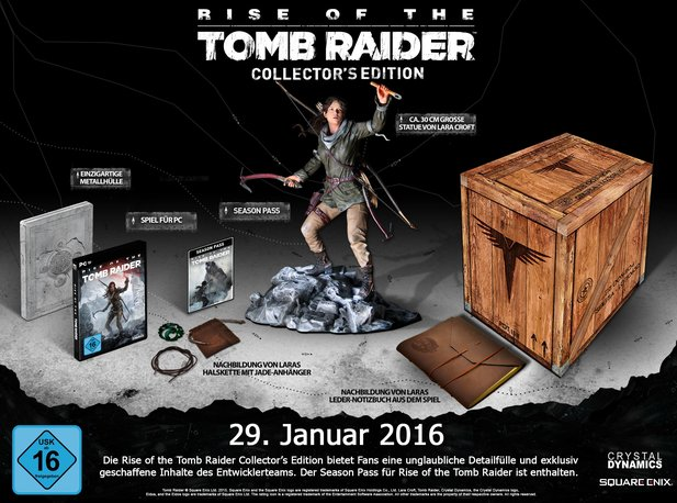 Die Collector's Edition von Rise of the Tomb Raider für PC soll ca. 130 Euro kosten.