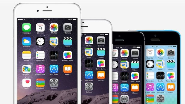 Von links nach rechts: iPhone 6 Plus, iPhone 6, iPhone 5S, iPhone 5C