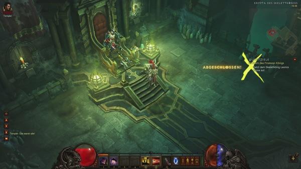 Diablo 3 - Komplettlösung : Als wir dem Skelettkönig seine Krone aufsetzen, erwacht er zu neuem Leben.
