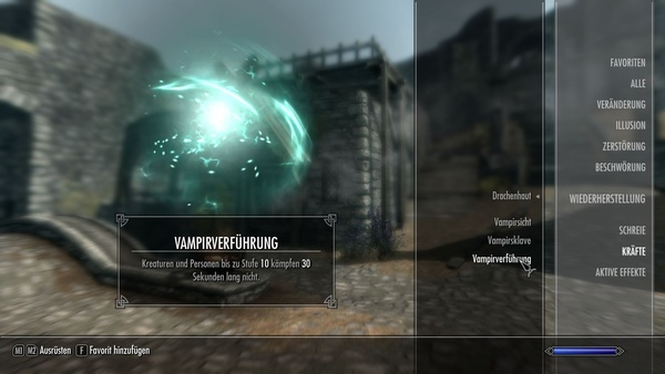 Vampirismus in Skyrim : Je blutdurstiger wir sind, desto stärker werden die einzigartigen Vampirfähigkeiten.