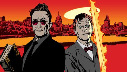 Terry Pratchetts Good Omens - Serie: Set-Bild zeigt Crowley & Aziraphale mit David Tennant
