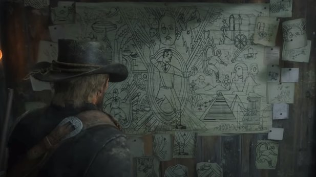 Die mysteriöse Collage von Francis Sinclair in Red Dead Redemption 2.
