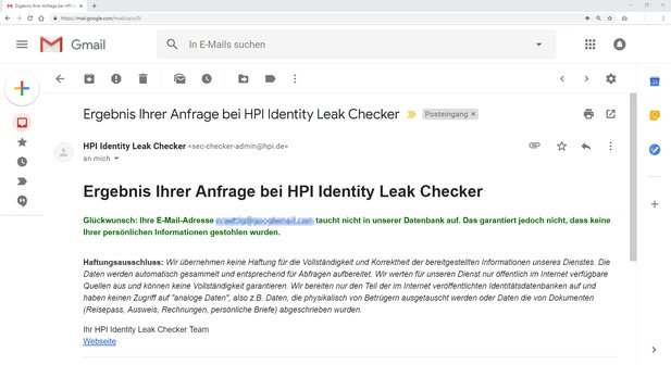 Der Identiy Leak Cheaker des Hasso Plattner Instituts enthält auch die Daten der Sammlungen Collection #1 bis Collection #5.
