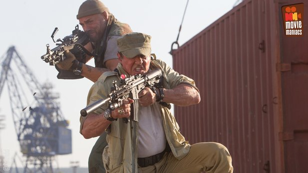 Randy Couture als Toll Road und Sylvester Stallone als Barney Ross in Expendables 3