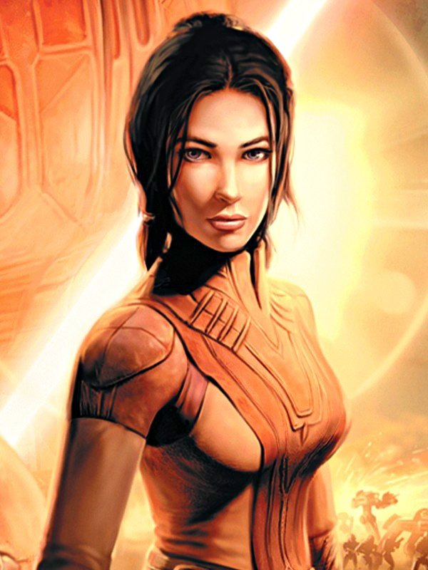 Begleiterin: Bastila aus Knights of the Old Republic.