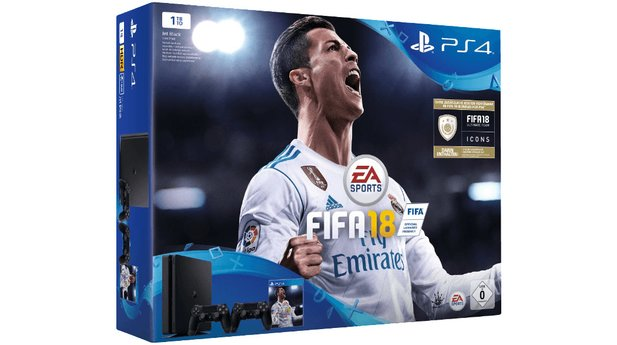 PS4 Slim 1TB + FIFA 18 + zwei Controller + 14 Tage PS Plus