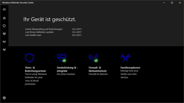 Windows Insider können das noch unfertige Windows Defender Security Center schon testen.