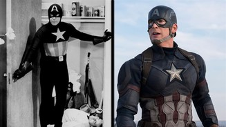 <b>Captain America</b></br> Dick Purcell in Captain America (1944) und Chris Evans in The First Avenger: Civil War (2016).</br> ©Paragon Movies / Marvel