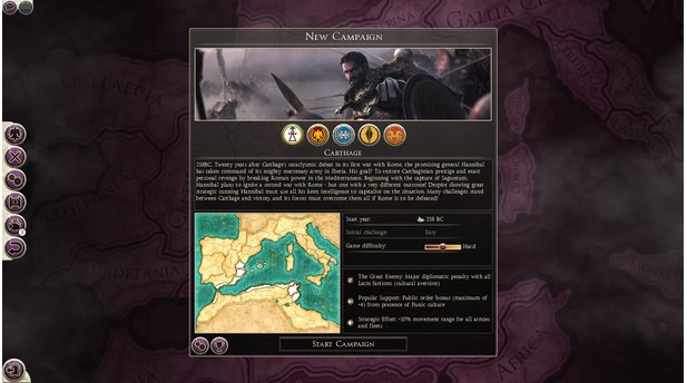 <b>Total War: Rome 2 - Screenshots zum DLC Hannibal at the Gates</b><br>Der Kampagnen-Startbildschirm. Im Hannibal-DLC sind Rom, Karthago, der griechische Stadtstaat Syrakus sowie zwei iberische Stämme spielbar.
