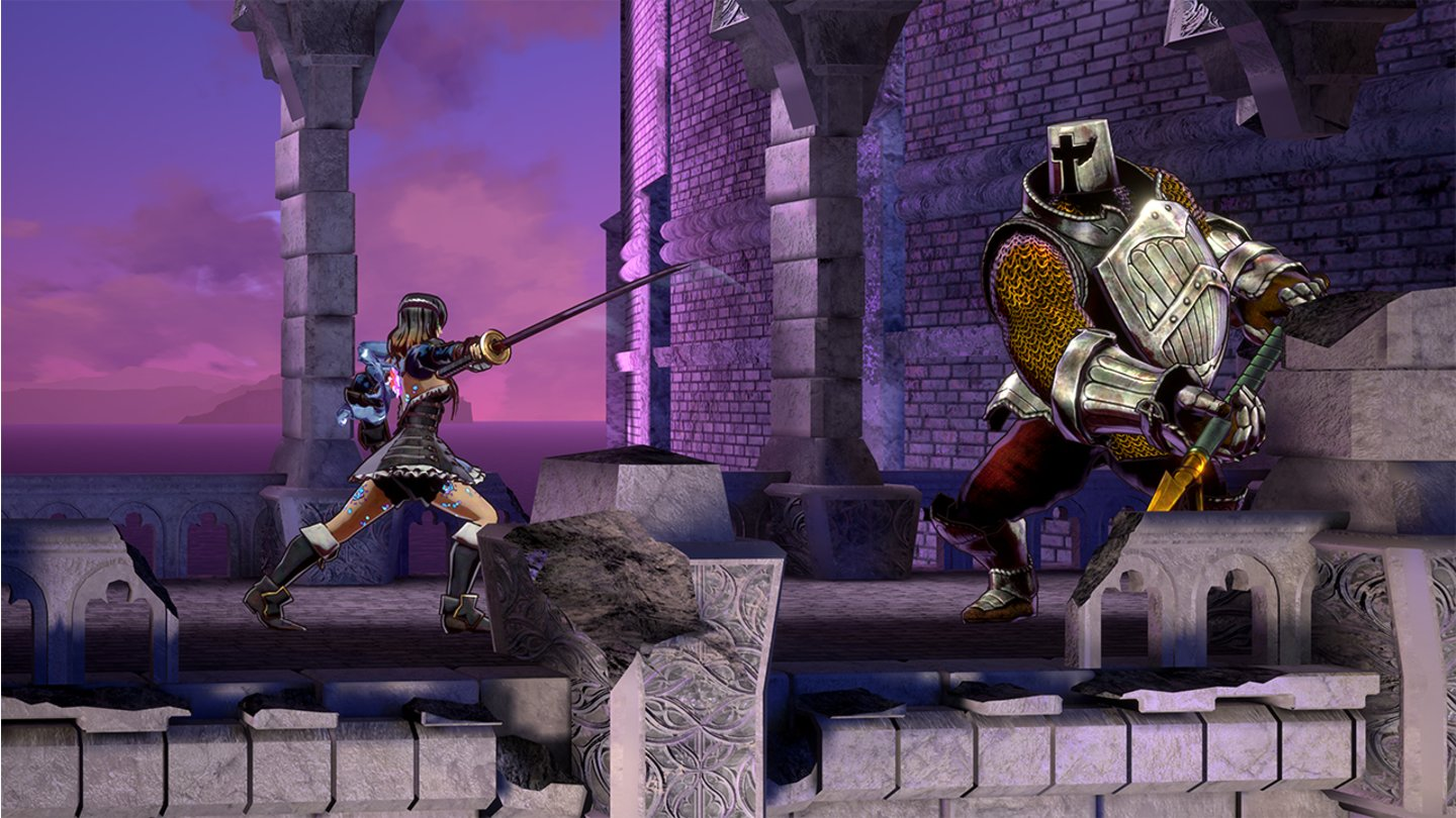 Bloodstained: Ritual of the NightDiesen Ritter macht Miriam mit ihrem Katana platt. In ihrem Waffenarsenal lagern aber auch Dolche, Peitschen und Lanzen.