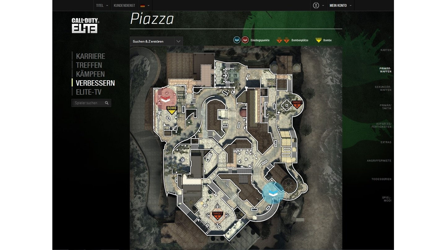 Call of Duty: EliteDie neue Karte Piazza in der Elite-Übersicht.