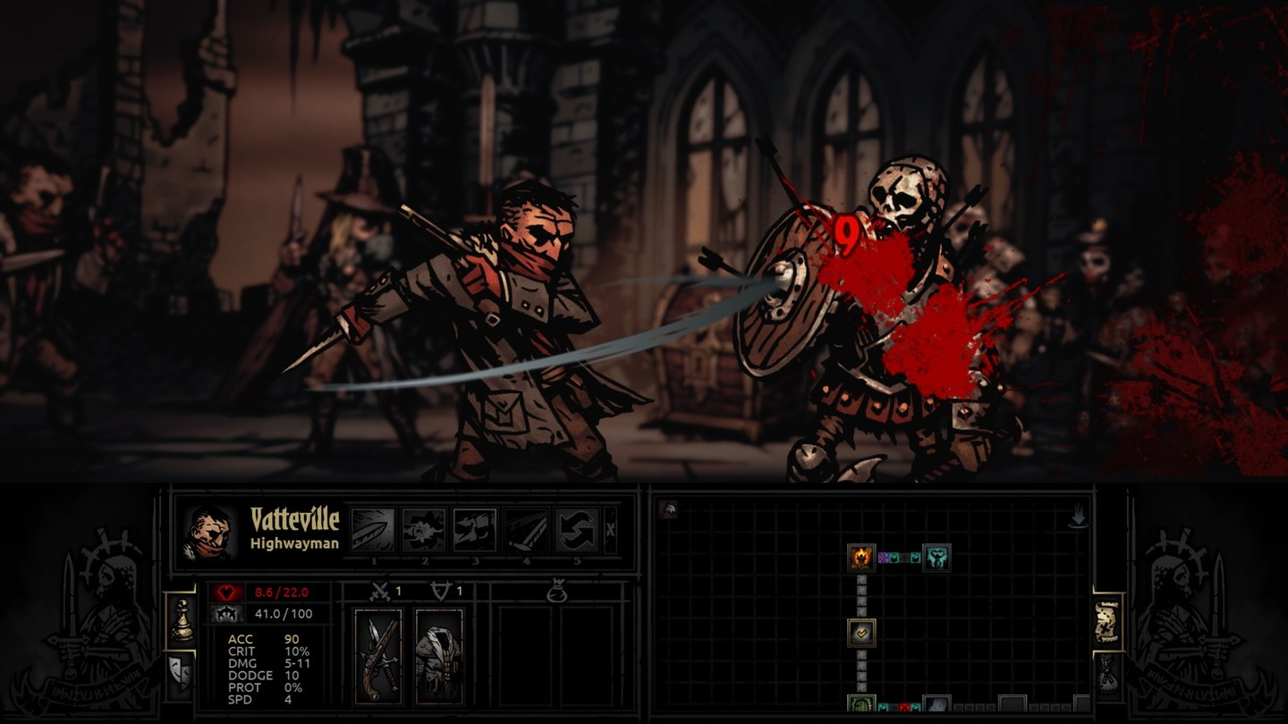 Darkest Dungeon - Early-Access-ScreenshotsDie Darstellung der Rundenkämpfe erinnert an düstere Comic-Panels.