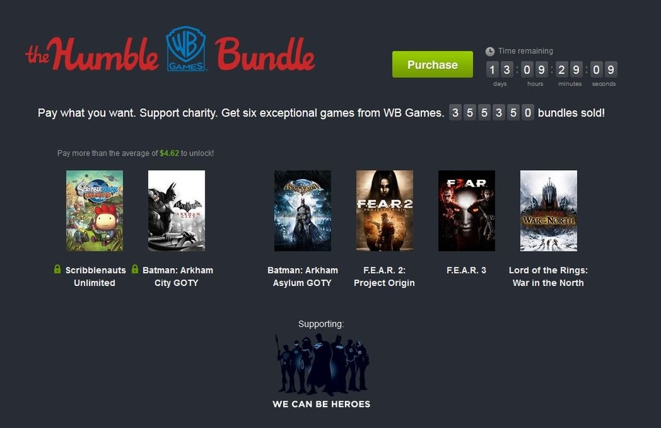 »The Humble Warner Bros. Bundle« beinhaltet diverse Titel vom Publisher Warner Bros., darunter Batman: Arkham City.
