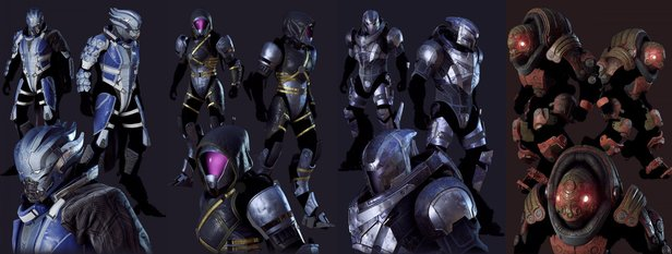 Links: Liara (Storm), Tali (Interceptor), Garrus (Ranger), Wrex (Colossus).