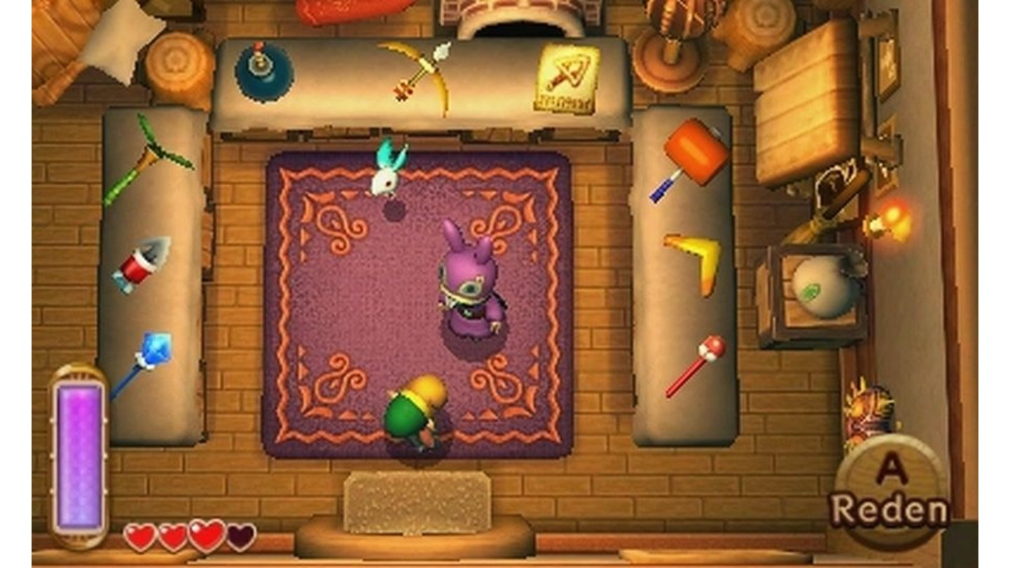 The Legend of Zelda: A Link Between WorldsBeim mysterlösen Händler mit der Hasenmaske können wir alles ausleihen (und später kaufen), was das Abenteurerherz begehrt.