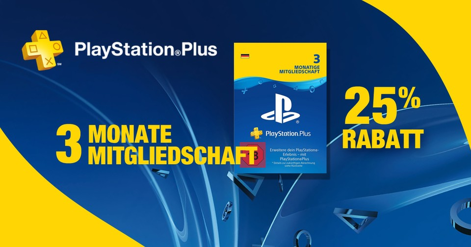 25% Rabatt auf PlayStation Plus.